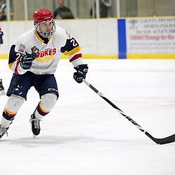 WELLINGTON, ON - JANUARY 13: Jacob Thousand #23 of the Wellington Dukes in the first period on January 13, 2019 at Wellington and District Community Centre in Wellington, Ontario, Canada.<br /> (Photo by Ed McPherson / OJHL Images)