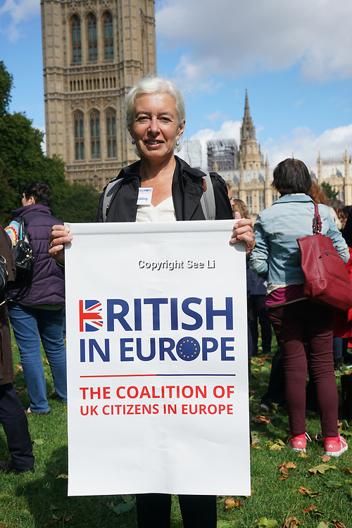 London, UK, 13th September 2017. Photocall: Citizens Jane Golding of British in Europe in partnership with Another Europe is Possible (Global Justice Now), European Alternatives, Migrants Rights Network and UNISON are organising A DAY OF ACTION at the Victoria Tower Garden.