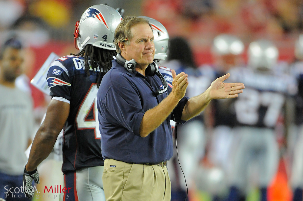 New England Patriots head coach Bill Belichick during the Pats game against theTampa Bay Buccaneers at Raymond James Stadium on Aug. 18, 2011 in Tampa, Fla...SPECIAL TO FOXSPORTS.COM/SCOTT A. MILLER