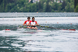 Papp Gergely and Petervari Molnar Bendeguz of Hungary competing during qualifying round  Rowing World Cup on May 9, 2015, at Bled's lake, Bled, Slovenia. (Photo by Grega Valancic / Sportida)