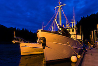View of the Ursa Major docked at Baranof Warm Springs at twilight, Baranof Island, Southeast Alaska