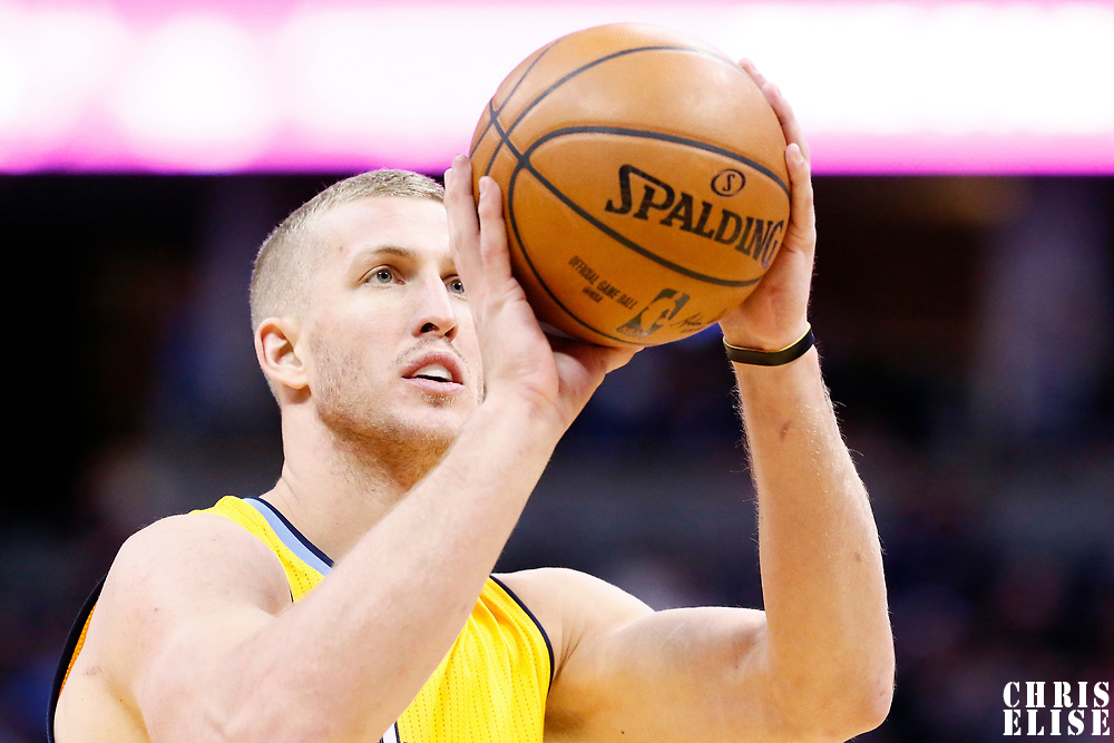 04 March 2017: Denver Nuggets center Mason Plumlee (24) is seen at the free throw line during the Charlotte Hornets 112-102 victory over the Denver Nuggets, at the Pepsi Center, Denver, Colorado, USA.