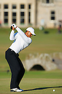 Tiger Woods  swing sequence on the 18th tee in front of the Swilkan Bridge and the R&amp;A Clubhouse <br />