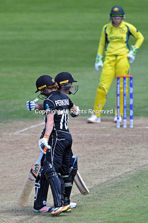 July 2nd 2017, The Brightside Ground, Bristol, England; ICC Womens World Cup; Australia Women versus New Zealand Women; Katie Perkins of New Zealand is congratulated by Erin Bermingham of New Zealand on scoring 50 runs