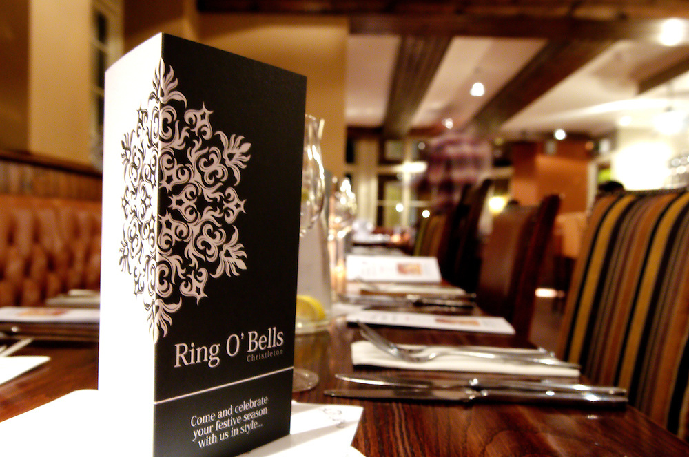 Black and white menu on a table in the Ring O'Bells restaurant