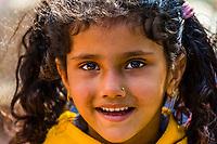 A smiling Gurkha girl in the mountain village of Chitepani, near Pokhara, Nepal.