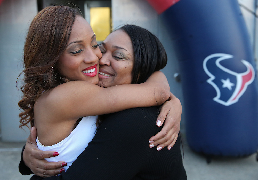 4/16/2014: New Houston Texans cheerleader Daranesha hugs her mother Richie Herron after finding out she made the team. Fifty girls showed up on April 16, 2014 at the Houston Texans practice facility in Houston, Texas to see which 35 girls made the 2014-2015, Houston Texans Cheerleading Team.