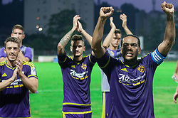 Agim Ibraimi #10 of Maribor, Marcos Tavares #9 of Maribor and other players of Maribor celebrate after winning during football match between ND Gorica and NK Maribor in 9th Round of Prva liga Telekom Slovenije 2015/16, on September 12, 2015, in Sports centrum Nova Gorica, Slovenia. Photo by Vid Ponikvar / Sportida
