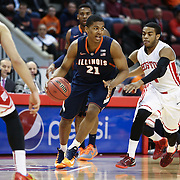 Malcolm Hill #21 of the Illinois Fighting Illini controls the ball during the NIT First Round game at Agganis Arena on March 19, 2014 in Boston, Massachusetts . (Photo by Elan Kawesch)
