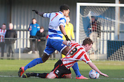 Marlon Jackson and Jack Barthram during the FA Trophy match between Oxford City and Cheltenham Town at Court Place Farm, Oxford, United Kingdom on 16 January 2016. Photo by Antony Thompson.