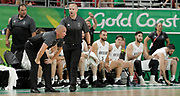 14th April 2018, Gold Coast Convention and Exhibition Centre, Gold Coast, Australia; Commonwealth Games day 10, Basketball, Mens semi final, New Zealand versus Canada; New Zealands coach Paul Henare cant believe there was no foul against one of his players