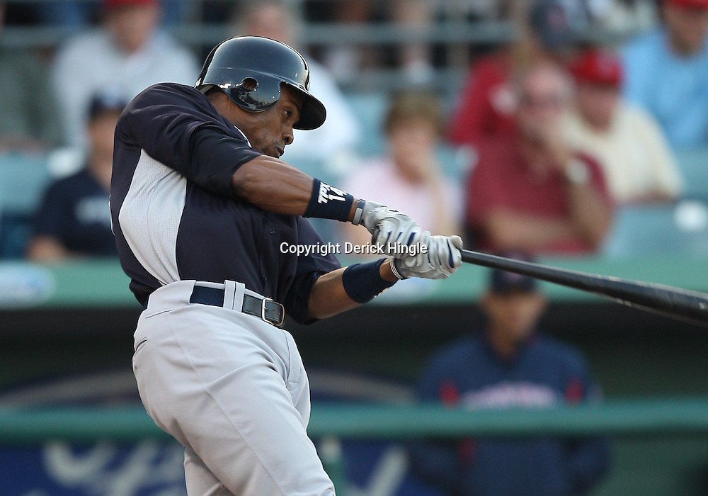 March 14, 2011; Fort Myers, FL, USA; New York Yankees center fielder Curtis Granderson (14) during a spring training exhibition game against the Boston Red Sox at City of Palms Park.   Mandatory Credit: Derick E. Hingle