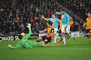 Derby County's Cyrus Christie shoots at goal during the Sky Bet Championship match between Hull City and Derby County at the KC Stadium, Kingston upon Hull, England on 27 November 2015. Photo by Ian Lyall.