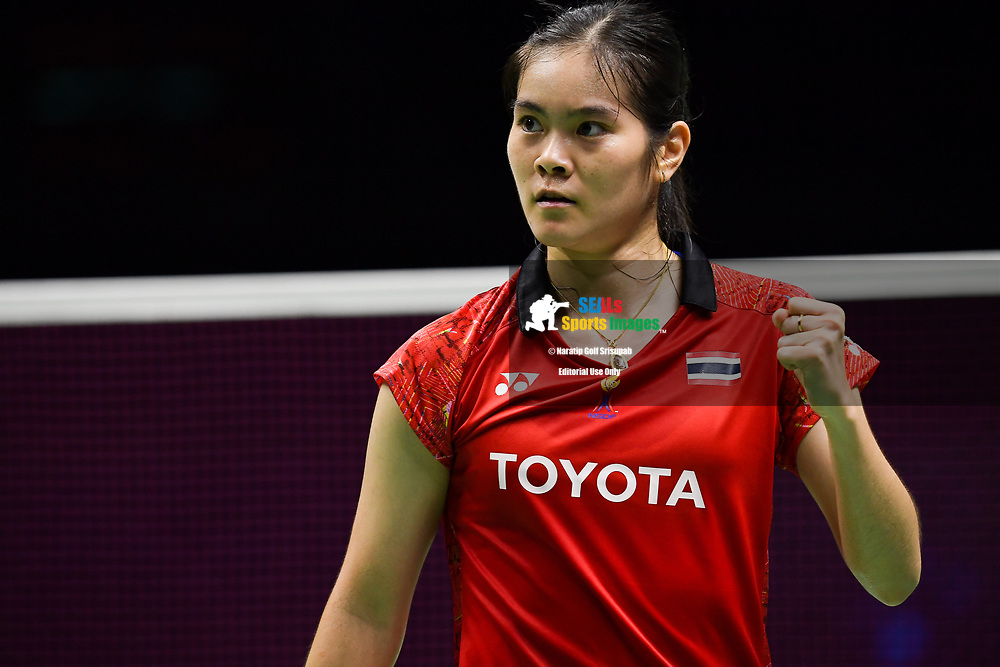 BANGKOK, THAILAND - MAY 24: Busanan Ongbamrungphan of Thailand reaction on Court 1 during her Quarter Finals match against Ruselli Hartawan of Indonesia at the BWF Total Thomas and Uber Cup Finals 2018, Impact Arena , Bangkok, Thailand on May 24, 2018.<br /> .<br /> .<br /> .<br /> (Photo by: Naratip Golf Srisupab/SEALs Sports Images)<br /> .<br /> Any image use must include a mandatory credit line adjacent to the content which should read: Naratip Golf Srisupab/SEALs Sports Images