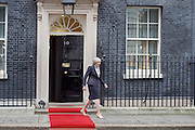 Theresa May <br /> Prime Minister <br /> welcomes His Majesty King Abdullah II of Jordan to Downing Street. 10 Downing Street, London, Great Britain <br /> 1st March 2017 <br /> <br /> Theresa May<br /> <br /> <br /> <br /> Photograph by Elliott Franks <br /> Image licensed to Elliott Franks Photography Services