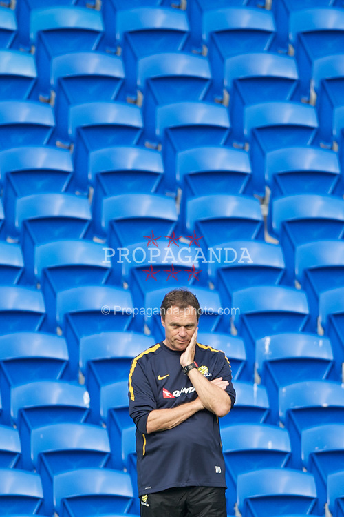 CARDIFF, WALES - Tuesday, August 9, 2011: Australia's head coach Holger Osieck during a training session at the Cardiff City Satdium ahead of the International Friendly match against Wales. (Photo by David Rawcliffe/Propaganda)