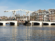 "A view of Amsterdam's famous Magere Brug or ""Skinny Bridge."""
