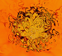 Yellow, black and orange shades on orange background. Fluid abstract shapes.