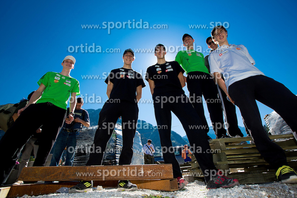 Mitja Meznar, Jurij Tepes, Nejc Dezman, Dejan Judez, Jure Sinkovec and Jaka Hvala at media day of Slovenian Ski jumping team during construction of two new ski jumping hills HS 135 and HS 105, on September 18, 2012 in Planica, Slovenia. (Photo By Vid Ponikvar / Sportida)