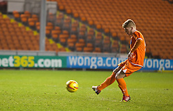 BLACKPOOL, ENGLAND - Wednesday, December 18, 2013: Blackpool's Conor Ready scores his side's first penalty of the shoot-out against Liverpool to make it 1-1 during the FA Youth Cup 3rd Round match at Bloomfield Road. (Pic by David Rawcliffe/Propaganda)