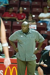 19 AUG 2006  Huskies coach Ray Gooden shows a look of disgust at the play of his team. Northern Illinois Huskies got slammed by Illinois State Redbirds, losing the match 3 games to 1. Game action took place at Redbird Arena on the campus of Illinois State University in Normal Illinois.