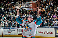 KELOWNA, CANADA - MAY 13: Chance Braid #22 of Kelowna Rockets skates with the WHL Championship trophy on May 13, 2015 during game 4 of the WHL final series at Prospera Place in Kelowna, British Columbia, Canada.  (Photo by Marissa Baecker/Shoot the Breeze)  *** Local Caption *** Chance Braid;
