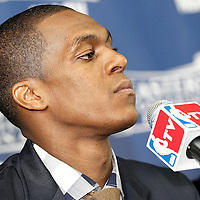 01 June 2012: Boston Celtics point guard Rajon Rondo is seen during the press conference following the Boston Celtics 101-91 victory over the Miami Heat, in Game 3 of the Eastern Conference Finals playoff series, at the TD Banknorth Garden, Boston, Massachusetts, USA.