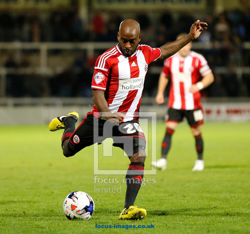 Jamal Campbell-Ryce of Sheffield United during the Johnstone's Paint Trophy match at Victoria Park, Hartlepool<br /> Picture by Simon Moore/Focus Images Ltd 07807 671782<br /> 07/10/2014