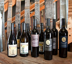 A selection of estate-produced wines on display in tasting room of Ladyhill Winery, St. Paul, Oregon.
