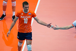 09-08-2019 NED: FIVB Tokyo Volleyball Qualification 2019 / Netherlands, - Korea, Rotterdam<br /> First match pool B in hall Ahoy between Netherlands - Korea (3-2) for one Olympic ticket / Sjoerd Hoogendoorn #10 of Netherlands