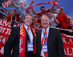Athens, Greece - Wednesday, May 23, 2007: Liverpool's owner Tom Hicks with his son Tom Hicks Junior before the UEFA Champions League Final against AC Milan at the OACA Spyro Louis Olympic Stadium. (Pic by David Rawcliffe/Propaganda)