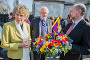 A wreath is laid  at The Memorial for Innocent Victims of war and oppression by Kate Hoey MP, Lord Howarth and Fabian Hamilton MP, (L to R) following a short multi-faith service led by Canon Jane Hedges from Westminster Abbey. MPs from the All Party Parliamentary Group for Tibet attended the annual ceremony in memory of Tibetans who have lost their lives since the Uprising in 1959. Westminster Abbey, London, UK 12 March 2014. Guy Bell, 07771 786236, guy@gbphotos.com
