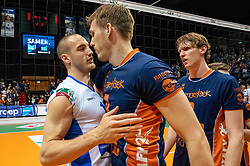 12-05-2019 NED: Abiant Lycurgus - Achterhoek Orion, Groningen<br /> Final Round 5 of 5 Eredivisie volleyball, Orion wins Dutch title after thriller against Lycurgus 3-2 / Joris Marcelis #4 of Orion, Dennis Borst #18 of Lycurgus