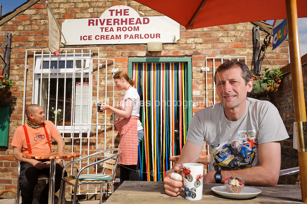 Capital of the Wolds,The East Yorkshire Town of Driffield. Pictured Howie Speight (customer) Annie Lowe (waitress) and Terry Holmes who runs the Riverhead Tea Room & Ice Cream Parlour, popular with Visitors and motorcyclists.