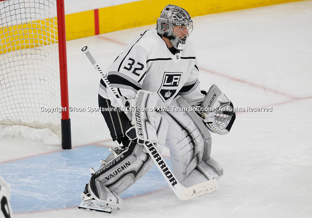 LAS VEGAS, NV - APRIL 11: Los Angeles Kings goaltender Jonathan Quick (32) practices before Game One of the Western Conference First Round of the 2018 NHL Stanley Cup Playoffs between the L.A. Kings and the Vegas Golden Knights Wednesday, April 11, 2018, at T-Mobile Arena in Las Vegas, Nevada. (Photo by: Marc Sanchez/Icon Sportswire)