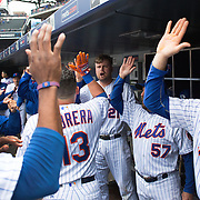NEW YORK, NEW YORK - MAY 04: Lucas Duda, (center), #21 of the New York Mets, who hit two home runs, celebrates with teammates after a Asdrubal Cabrera #13 of the New York Mets home run during the Atlanta Braves Vs New York Mets MLB regular season game at Citi Field on May 04, 2016 in New York City. (Photo by Tim Clayton/Corbis via Getty Images)
