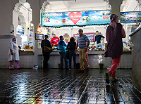 CASABLANCA, MOROCCO - CIRCA APRIL 2017: People at the fish market in Casablanca