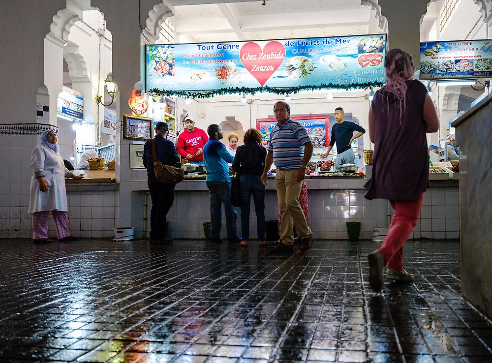 CASABLANCA, MOROCCO - CIRCA APRIL 2017: People at the fish market in Casablanca