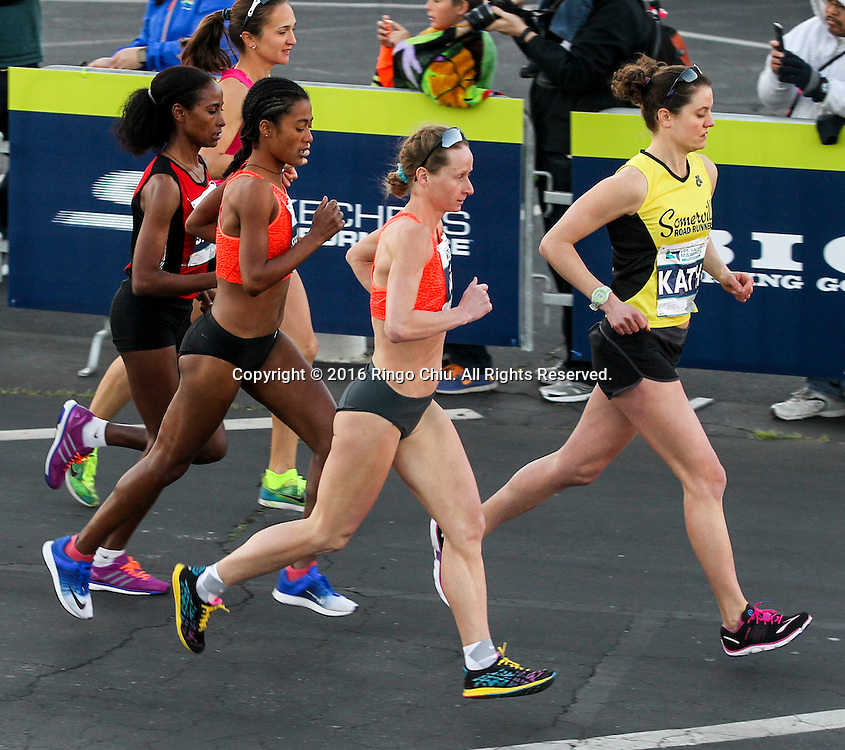 Winner Nataliya Lehonkova, center, of the Ukraine, and other elite women runners take off from Dodger Stadium during the 31st Los Angeles Marathon in Los Angeles, Sunday, Feb. 14, 2016. The 26.2-mile marathon started at Dodger Stadium and finished at Santa Monica.  (Photo by Ringo Chiu/PHOTOFORMULA.com)<br /> <br /> Usage Notes: This content is intended for editorial use only. For other uses, additional clearances may be required.