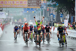 Chloe Hosking (AUS) wins sprint finish ahead of Alison Jackson (CAN) and Marianne Vos (NED) at GREE Tour of Guangxi Women's WorldTour 2019 a 145.8 km road race in Guilin, China on October 22, 2019. Photo by Sean Robinson/velofocus.com