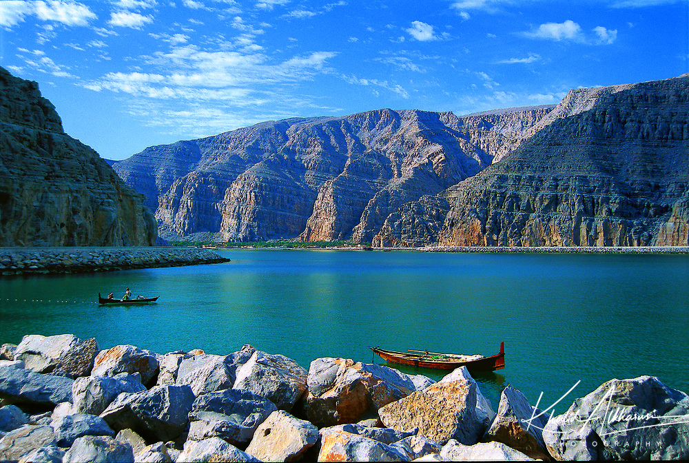 The way to Khasab at north of Oman in Musandam Governorate.