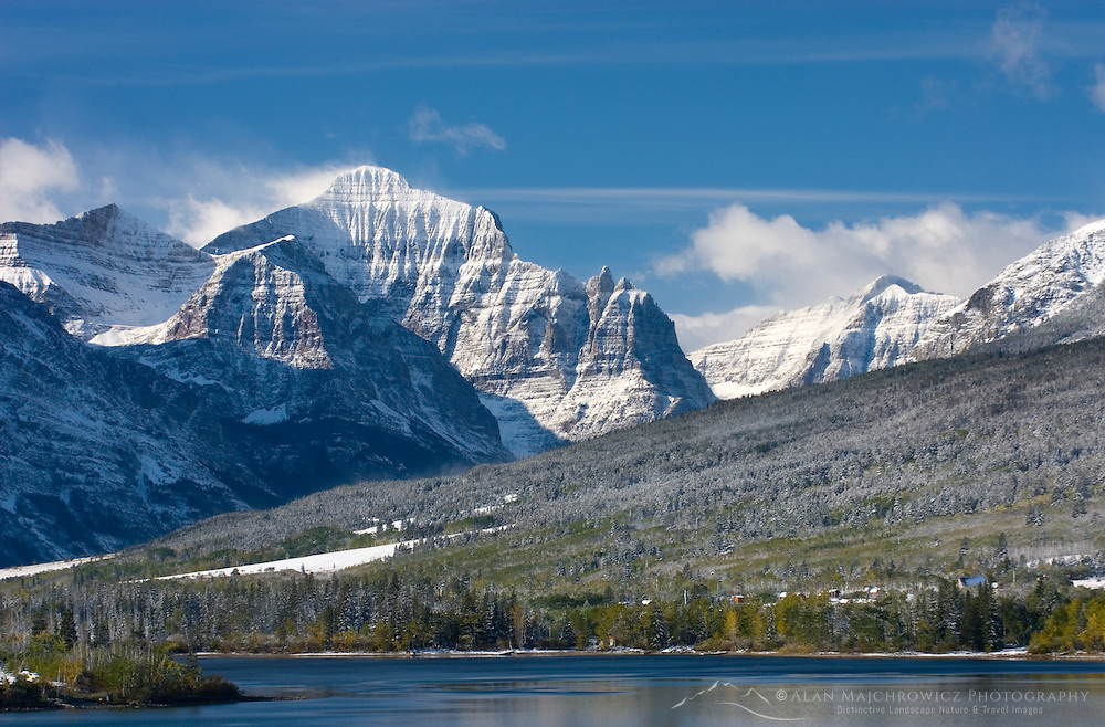 Mountains of the eastern ranges of Glacier National Park Montana after autumn snowstorm.