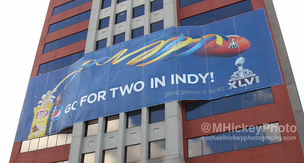 Jan. 29, 2012; Indianapolis, IN, USA; Super Bowl XLVI signage on the Pan Am Plaza tower  in downtown Indianapolis. Mandatory credit: Michael Hickey-US PRESSWIRE