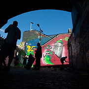 Meeting of Styles street art festival at the Nomadic Community Garden in Shoreditch, a sort of commune vibe for street artists.