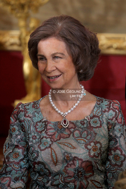 King Juan Carlos of Spain, Queen Sofia of Spain, Prince Felipe of Spain and Princess Letizia of Spain attended the reception with the Corps Diplomatic at the Royal Palace in Madrid