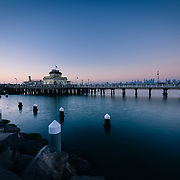 St Kilda Pier and kiosk at sunset
