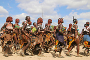 Hamar Women Dance At a Bull Jumping Ceremony, Dimeka, Omo Valley, Ethiopia