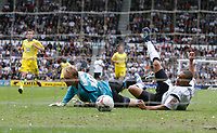 Photo: Steve Bond.<br />Derby County v Leeds United. Coca Cola Championship. 06/05/2007. Tyrone Mears squeezes the ball under Caspar Ankergren for Derby's 2nd goal