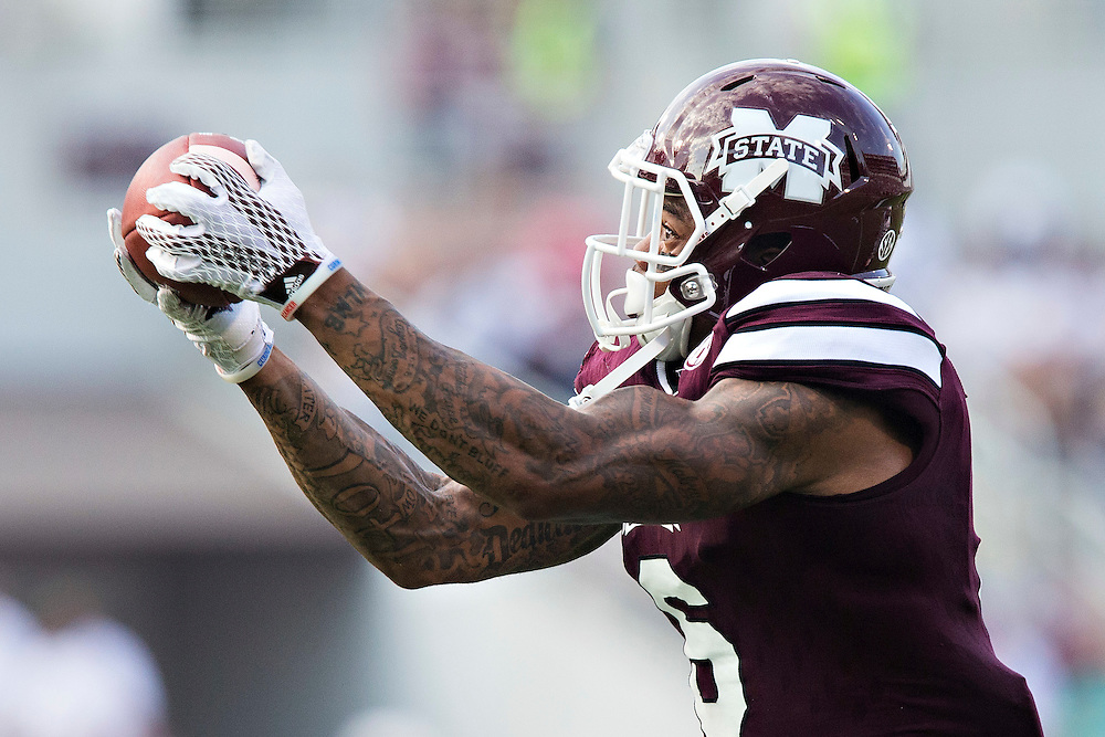 STARKVILLE, MS - SEPTEMBER 19:  Donald Gray #6 of the Mississippi State Bulldogs catches a touchdown pass during a game against the Northwestern State Demons at Davis Wade Stadium on September 19, 2015 in Starkville, Mississippi.  The Bulldogs defeated the Demons 62-13.  (Photo by Wesley Hitt/Getty Images) *** Local Caption *** Donald Gray