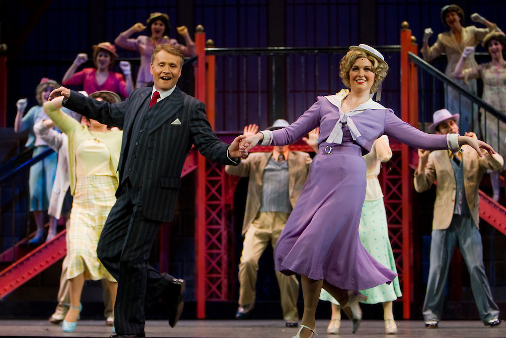 Derek Metzger as Julian Marsh and Laura O'Sullivan as Dorothy Brock  with the ensemble performing in the Broadway musical 42nd Street, The Civic Theatre, Auckland, New Zealand, Thursday, September 30, 2010.   Credit:SNPA / David Rowland